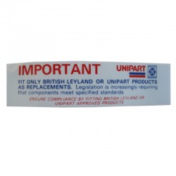 Unipart important sticker